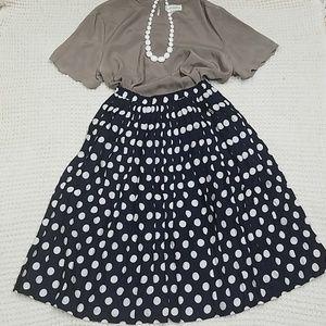 Vintage High Waist Polkadot Midi Skirt